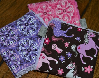 Cowgirl Washcloths Childrens Baby Set of 3