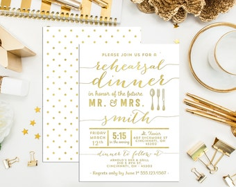 Faux Press Rehearsal Dinner Invitations. Digital Printable Bridal Invites. Gold Press Invitations. Bridal Shower. Engagement. Wedding Shower