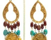 "Handcrafted Egyptian Goddess 4"" Brass Chandelier Egyptian motif Earrings OOAK Free Ship"