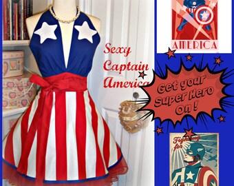 Sexy Captain America handmade apron, woman's apron, full, halter style, Super Hero, Americana, kitchen, Texas, Puerto Rico
