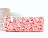 Red Floral Pencil Pouch Retro Floral Pencil Bag Red Purse Organizer