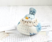 Blue and Cream Floral Bird Pincushion Cotton Pin Cushion