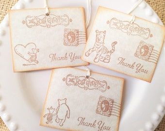 Winnie the Pooh Post Card Thank You Tags Collection of 5 Designs Vintage Inspired Set of 15