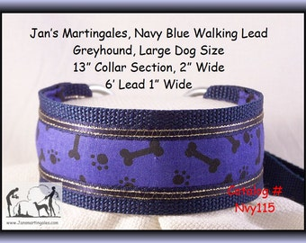Jan's Martingales, Navy Blue Walking Lead, Collar and Lead Combination, Greyhound, Large Dog Size, Nvy115
