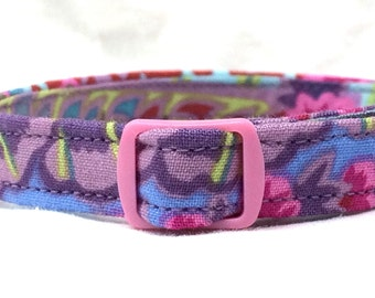 Purple Pink Paisley Cat Collar Kaffe Fassett