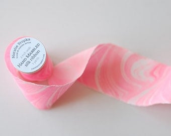 Marbled Silk Ribbon in Neon Pink