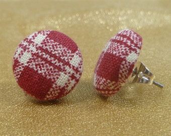 Red Plaid Fabric Button Earrings