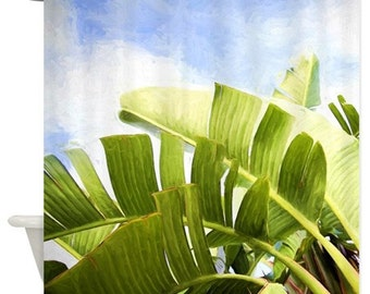 Palm leaf Shower Curtain,tropical,blue,Hawaii,landscape,nature,green home decor