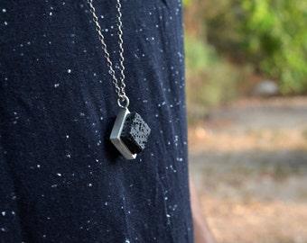 Cool Volcanic-Square Lava S-Lava pendant for man-Grange Necklace-Long Silver Chain-geometric pendant for man-Apocalyptic-Grange Jewelry-MJ