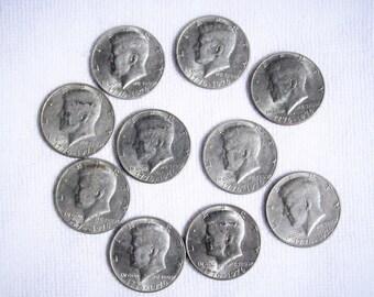 "1776  ""Half Dollars""  1976  / 10  Kennedy Bicentennial US coins"