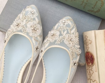 Beautiful Wedding Flats with Mesh and Flower Embroidery Beads Bridal Shoes - Glass Slipper with 'Something Blue' Bella Belle Shoes Adora