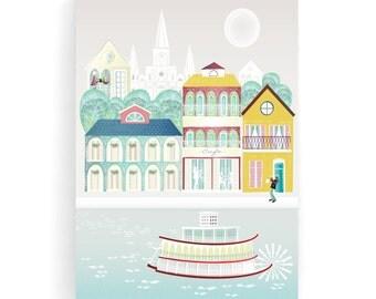 New Orleans Wall Art, Louisiana Skyline, Framed Canvas Print Cityscape illustration, Home decor, Nursery, Mardi Gras, Jazz poster, MCNO1