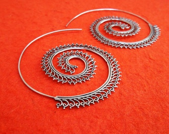 Large Sterling Silver Hoop Creolen Earrings / silver 925 / Balinese Handmade Jewelry / 2.50 inch