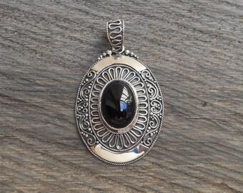 Unique Sterling Silver Pendant black onyx cabochon / silver 925 / Bali handmade jewelry / 1.75 inch long