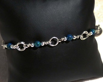 Bracelet, Silver, Chrisocolla, Wire Wrapped   4705
