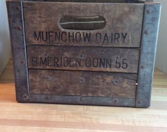 Vintage 1955 Wooden Milk Bottle Crate #E