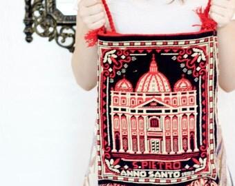 70s Vintage/ Roma Knit Hobo Bag/ Large