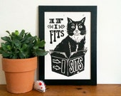 Black Cat Linocut Print - If I Fits, I Sits, Lino Print, Silly Cat, Meme, Funny Print, Funny Cat in a box, Funny Wall Art