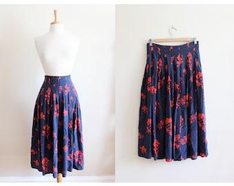 Vintage Bill Blass Red & Navy Floral Silk Midi Skirt