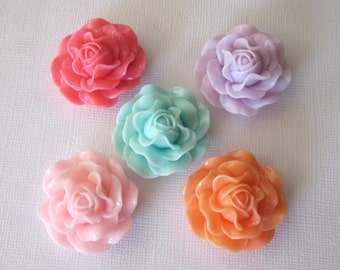 Cabochon Large Rose Flower Mixed Colors Mixed Color, 31x16mm (6)