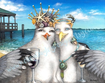 Best Friends by Kelley Quigley Seagull Beach Giclee Print on Canvas of Original Painting