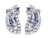 Beautiful Blue Baguette and Clear Rhinestone Clip Earrings