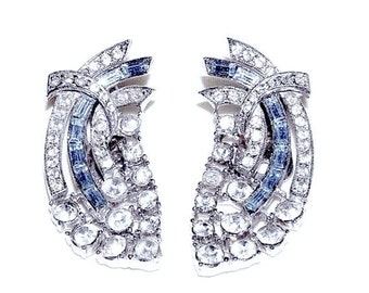Beautiful Blue Baguette and Clear Rhinestone Clip Earrings