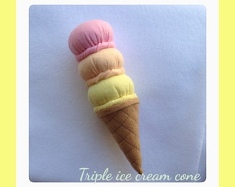 Etsy Pretend food - play food -Felt food Ice cream Cone ( triple scoop ice cream cone)