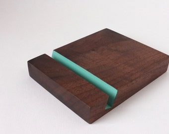 Walnut iPad stand with turquoise accent - Universal tablet stand