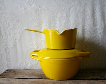 Vintage Copco Dutch Oven Michael Lax Casserole Enameled Cast Iron Brilliant Yellow