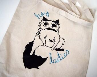 """Cat Tote Bag- """"Hey Ladies"""", Cute Cat Bag, Cotton Tote Bag, Cat Shopping Bag, Cat Lover"""
