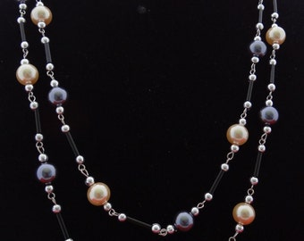 """20% off sale Vintage  60"""" silver tone and glass pearl necklace in great condition,  beautifully made"""