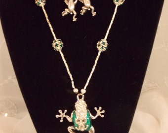 Handmade Frog Necklace Set, Gorgeous Crystal Liquid Silver with Rhinestone Beaded Balls, Lucky Frog Necklace Set, OOAK