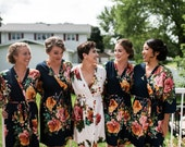 Black Large Floral Blossom Bridesmaids Robe Sets, Kimono Robes. Bridesmaids gifts. Getting ready robes. Bridal Party Robes. Floral Robes