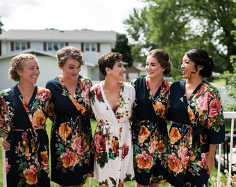 Black Large Floral Blossom Bridesmaids Robe Sets, Kimono Robes. Bridesmaids gifts. Getting ready robes. Bridal Party Robes. Floral Robes