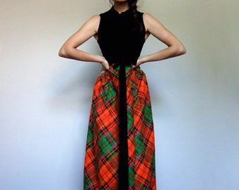 Vintage 60s Plaid Dress Black Velvet Sleeveless Holiday Red Green Long Maxi 1960s Party Dress - Extra Small XXS XS