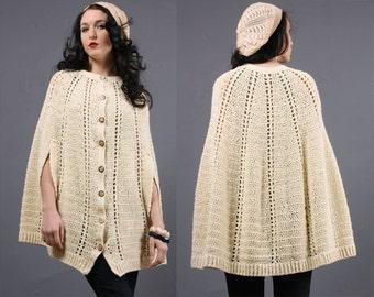 Vintage 70's Macrame Crochet Swing Hippie Boho Sheer Knit Button Cape Poncho Jacket
