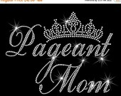 "9.6"" wide PAGEANT MOM rhinestone iron on transfer applique patch for woman's shirt"