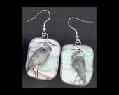 Bird Jewelry: Great Blue Heron Earrings. Original Ink Drawing on Polymer Clay. Light Silvery Grey, Violet, Green, White, Tan, Black. 4146