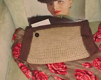 Vintage 40s Knit Clutch Purse Wide Attached Coin/2 Weave Brown & AUTUMN Wheat Romey Carryable