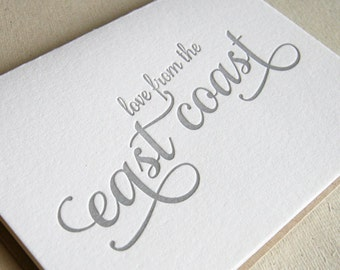 Letterpress Greeting card - Regional Love from the East Coast