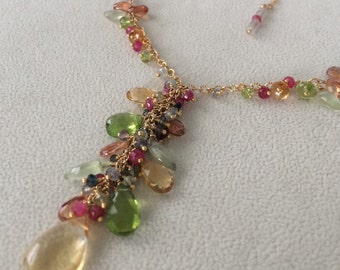 Semiprecious Gemstone Pendant Necklace in Gold Vermeil and Citrine, Peridot, Prehnite, Mystic Topaz, Rare Red Spinel and Tunduru Sapphire