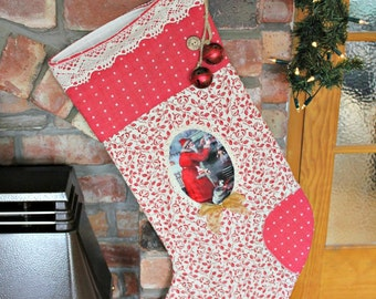 Large Vintage Traditional Festive Natural & Red Christmas Stocking