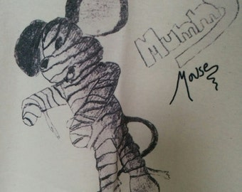 Mummy Mouse men's tshirt XL New goth punk cartoon animation monster halloween