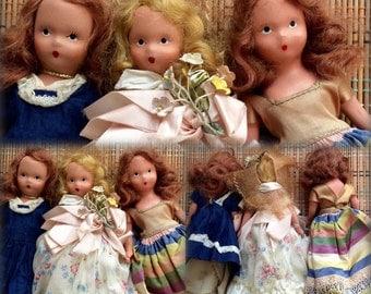 Vintage Set of Nancy Ann Story Book Dolls, 1940's