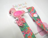 Lilly pacifier clip - girls pacifier clip - flamingo pacifier clip - lilly baby gift - binky clip - pacifier keeper - lilly pacifier holder
