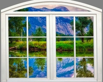 Wall mural window, self adhesive, Merced river-Yosemite -arched window frame-3 sizes available