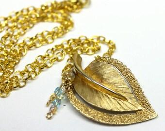 Vintage gold leaf necklace,AB gold/green/blue/amber crystals,gold leaf necklace,AB crystals,gold leaf, vintage necklace,recycled