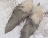 Beautiful Light Brown Gray Leather Real Mink Feather Style Earrings