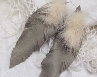 Earrings Beautiful Light Brown Gray Leather Real Mink Feather Style Earrings (108)